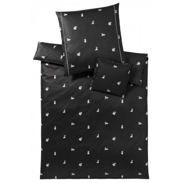 elegante Satin Westies coal black 135x200+80x80