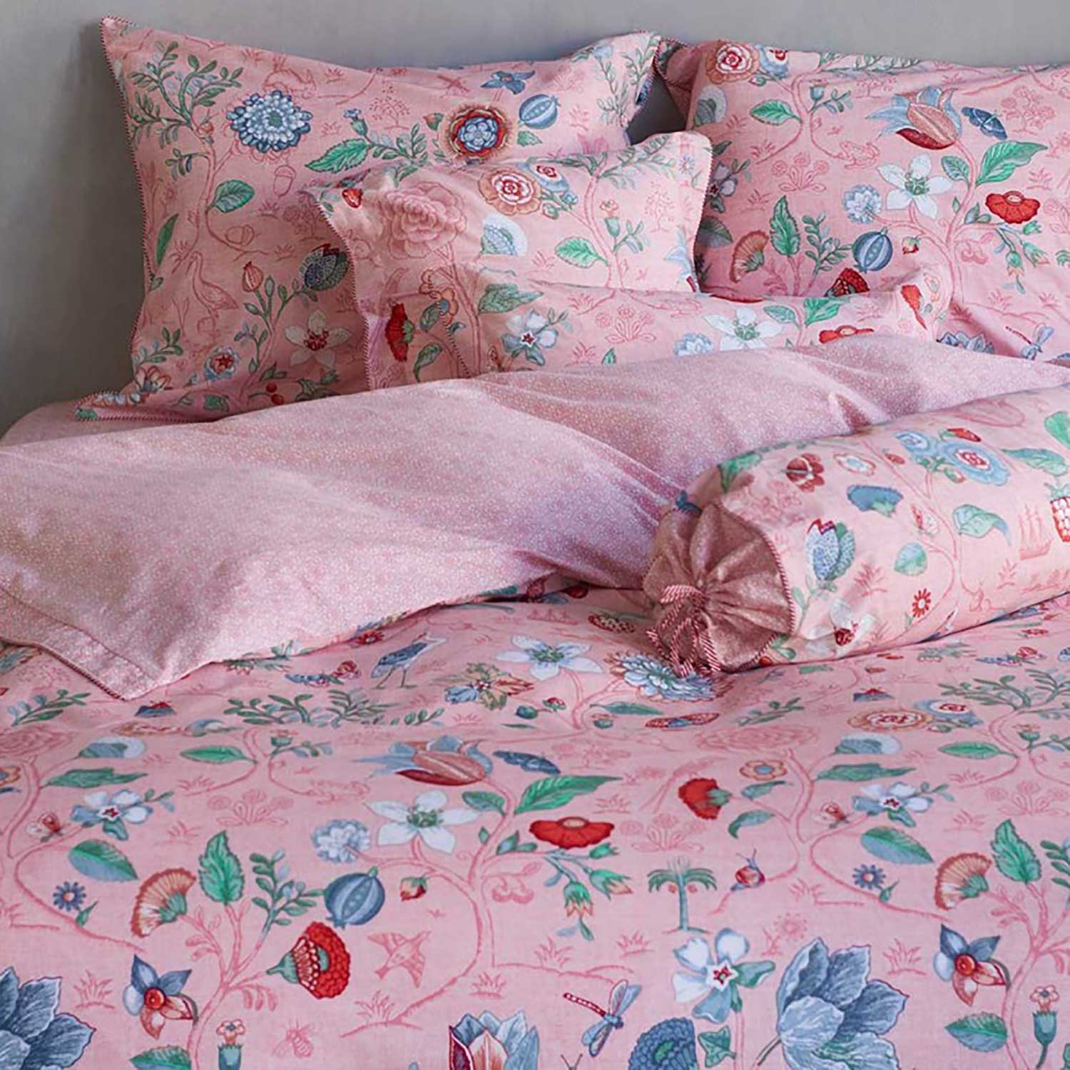 pip studio perkal spring to life petit pink 155x220 80x80 sleep with a smile. Black Bedroom Furniture Sets. Home Design Ideas