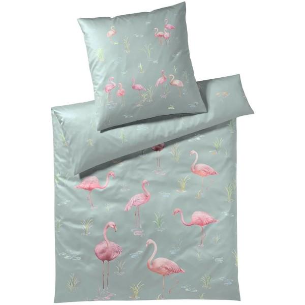 elegante Satin Flamingo Sage 135x200+80x80