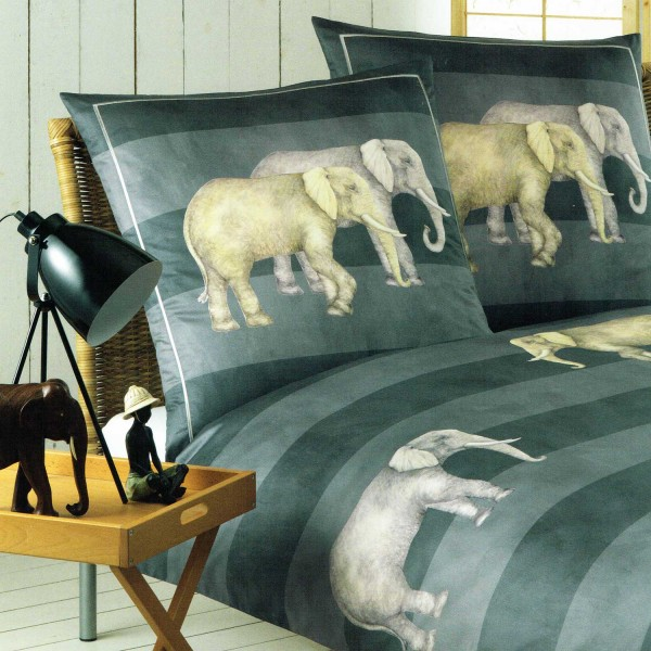 elegante Satin Elephant Pair night black 135x200