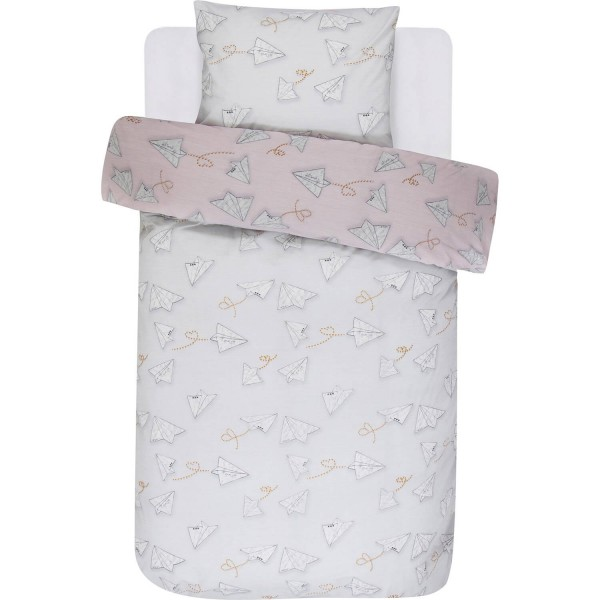 Covers & Co Renforcé Loveletter Rose/grey 135x200+80x80